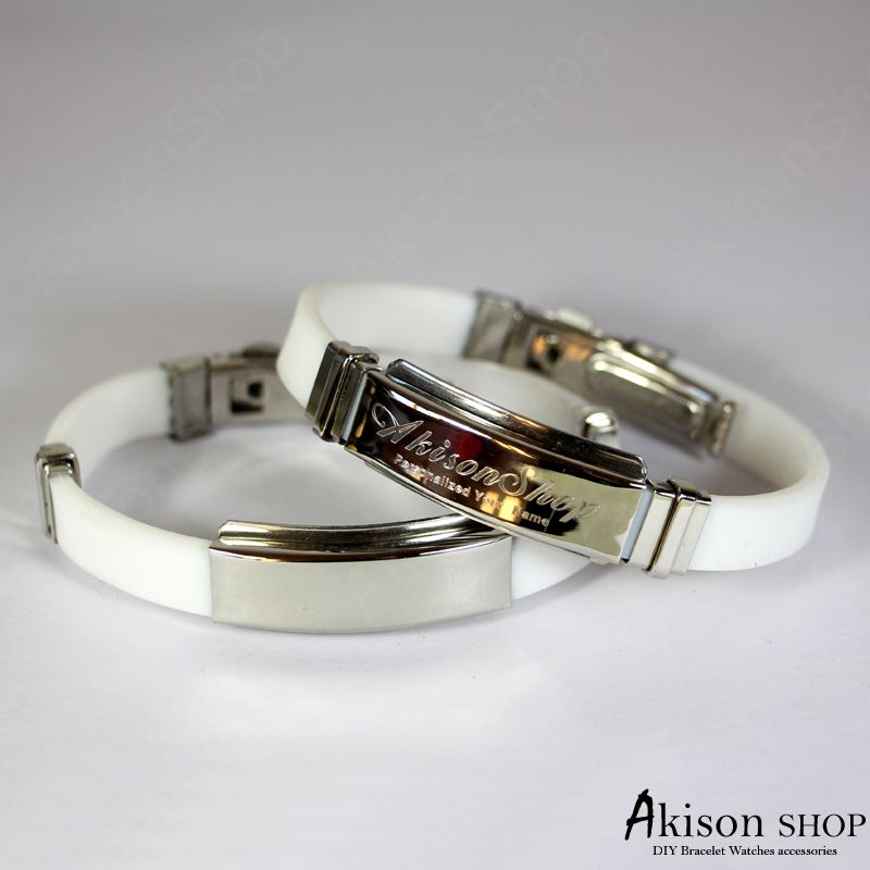 Personalized Name Bracelet Fashion Stainless Steel Rubber Silicone Bangle Bracelet JC001-White