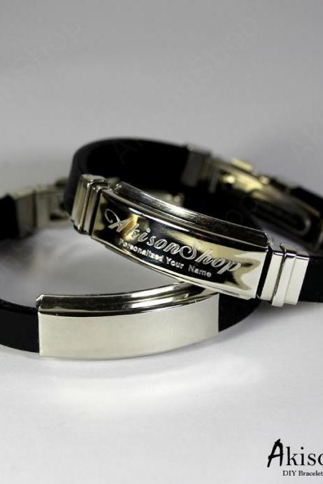 Personalized Name Bracelet Fashion Stainless Steel Rubber Silicone Bangle Bracelet JC001-Black
