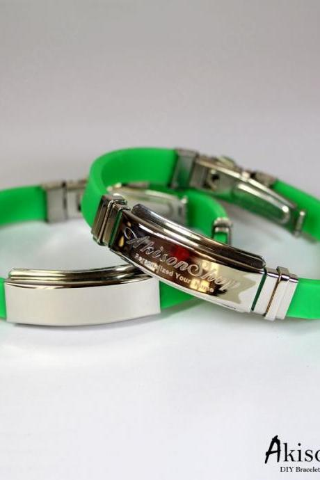 Personalized Name Bracelet Fashion Stainless Steel Rubber Silicone Bangle Bracelet JC001-Green