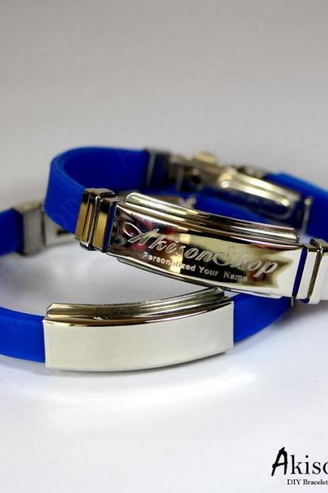Personalized Name Bracelet Fashion Stainless Steel Rubber Silicone Bangle Bracelet JC001-Blue