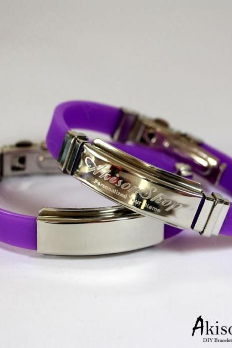 Personalized Name Bracelet Fashion Stainless Steel Rubber Silicone Bangle Bracelet JC001-Purple